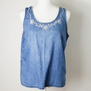 🎃 New Directions : Chambray Embroidered Boxy Tank